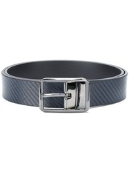 Canali Textured Buckle Belt Men Leather 110 Blue