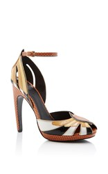 Rodarte Leather Open Toe Heel Tan