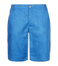 Zilli Embroidered Linen Shorts Blue