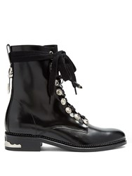 Toga Buckle And Lace Up Leather Ankle Boots Black