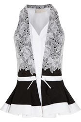 Peter Pilotto Cate Cotton Poplin And Lace Peplum Top White