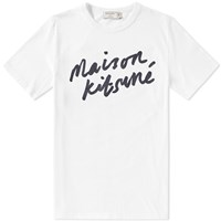 Maison Kitsune Handwriting Tee End. Exclusive White