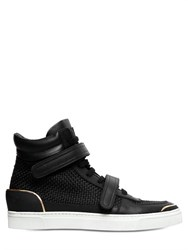 Louis Leeman Braided Silk And Leather High Top Sneakers