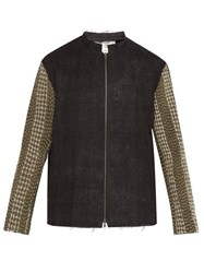 By Walid Embroidered Panel Zip Through Linen Jacket Black Green