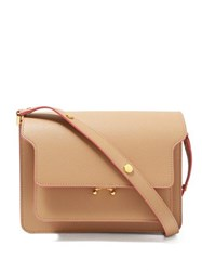 Marni Trunk Medium Leather Shoulder Bag Beige Multi