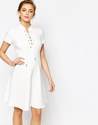 Closet Cap Sleeve Dress With Lace Up Detail Navy