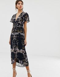 Hope And Ivy Mirror Print Midi Dress Navy