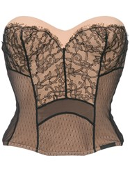 Christian Dior Vintage Strapless Lace Bustier Pink And Purple