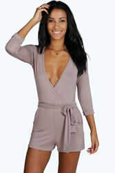 Boohoo Self Belt Relaxed Fit Playsuit Mocha