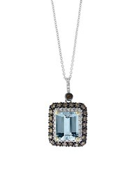 Effy Final Call Diamond Aquamarine And 14K White Gold Pendant Necklace Brown