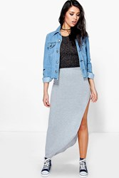 Boohoo Ruched Side Jersey Maxi Skirt Grey Marl