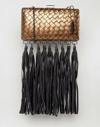 Glamorous Woven Clutch Bag With Statement Fringe Bronze Woven Gold