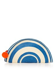 Sophie Anderson Half Moon Striped Straw Clutch Blue Stripe