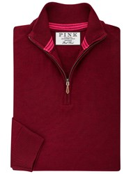 Thomas Pink Geoffrey Merino Zip Neck Jumper Burgundy