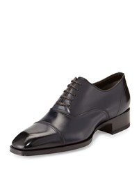 Tom Ford Gianni Cap Toe Leather Shoe Blue