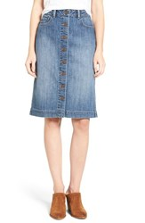 Hinge Women's Button Front Denim Midi Skirt
