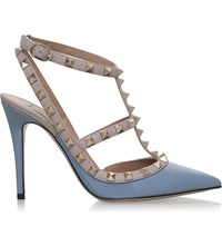 Valentino Rockstud 100 Patent Leather T Bar Courts Mid Blue