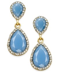 Inc International Concepts Pave Colored Stone Drop Earrings Only At Macy's Gold Blue