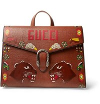 Gucci Dionysus Hand Painted Textured Leather Briefcase Tan