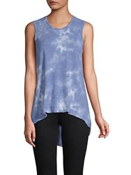 Candc California Tie Dye Asymmetrical Cotton Tank Top Blue