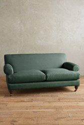 Anthropologie Linen Willoughby Sofa Hickory Legs Dark Turquoise