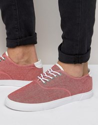 Asos Sneakers In Red Chambray Red