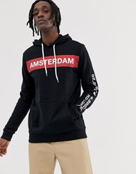 Your Turn Yourturn Hoodie With Amsterdam Chest Print In Black