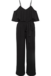 Mara Hoffman Off The Shoulder Crinkled Crepe Jumpsuit Black