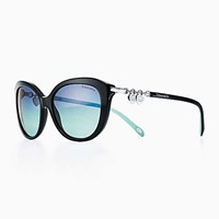 Tiffany And Co. Return To Tiffanytm Cat Eye Sunglasses In Black Blue Acetate. Plastic