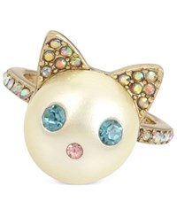 Betsey Johnson Gold Tone Colored Pave And Imitation Pearl Cat Ring Blue