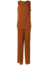 By Malene Birger Layered Jumpsuit Women Polyester Spandex Elastane S Brown
