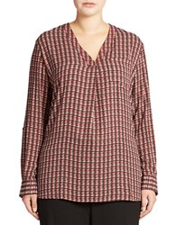 Lord And Taylor Plus Patterned Blouse True Red
