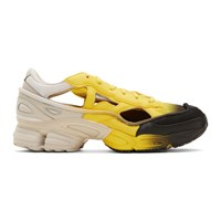 Raf Simons Yellow And Off White Adidas Originals Edition Replicant Ozweego Sock Pack Sneakers