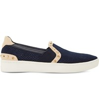 Dune Edit Studded Leather Skate Shoes Navy Reptile