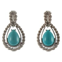 Eclectica Vintage 1960S Chrome Plated Glass Cabochon Clip On Drop Earrings Silver Turquoise