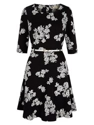 Yumi Monochrome Floral Long Sleeved Dress Black