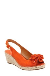 Clarksr Women's Clarks Petrina Bianca Wedge Sandal Orange Nubuck Leather