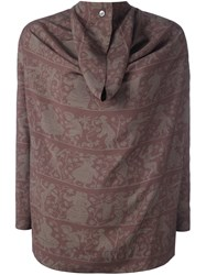 Vivienne Westwood Anglomania Damask Print Pleated Back Blouse Brown