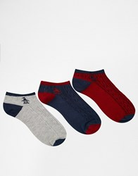 Penguin 3 Pack Socks In Navy Cable Navy