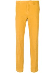 Pt01 Tailored Fitted Trousers Cotton Spandex Elastane Yellow Orange