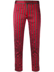 Ann Demeulemeester Cropped Stripe Trousers Women Silk Cotton Polyester Rayon 36 Red