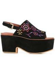 See By Chloe Embroidered Platform Slingback Mules Black