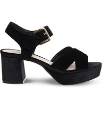 Office Montana Velvet Platform Sandals Black Velvet