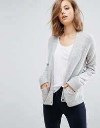 Asos Cardigan In Wool Mix With Pockets Grey