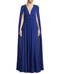 Marchesa Silk Georgette V Neck Cape Gown Royal