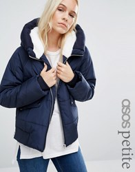 Asos Petite Padded Jacket With Faux Fur Hood And Knitted Trim Navy