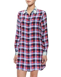 Equipment Brett Long Contrast Plaid Dress Women's Azalea Peacoat