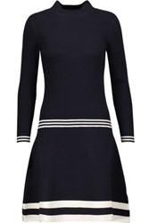 Chinti And Parker Ruffled Ribbed Wool Turtleneck Sweater Dress Midnight Blue