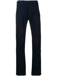 Emporio Armani Straight Fit Trousers Blue
