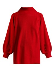 Ryan Roche High Neck Cashmere Sweater Red